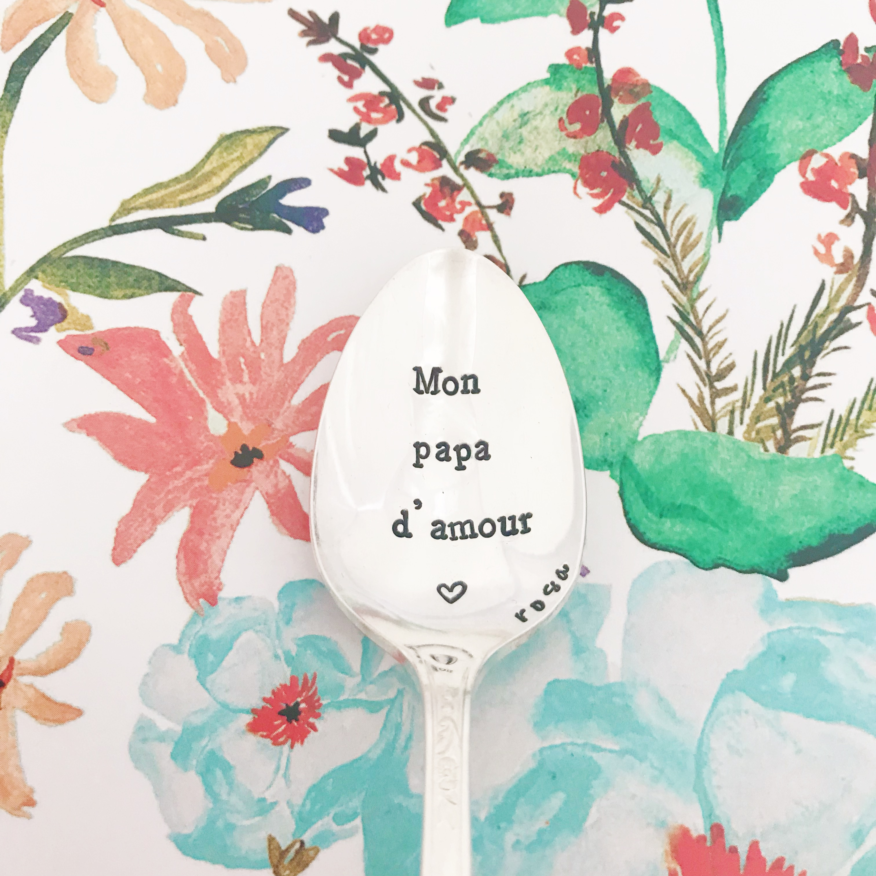 Petite Cuillère Gravée Vintage Mon Papa Damour Signature