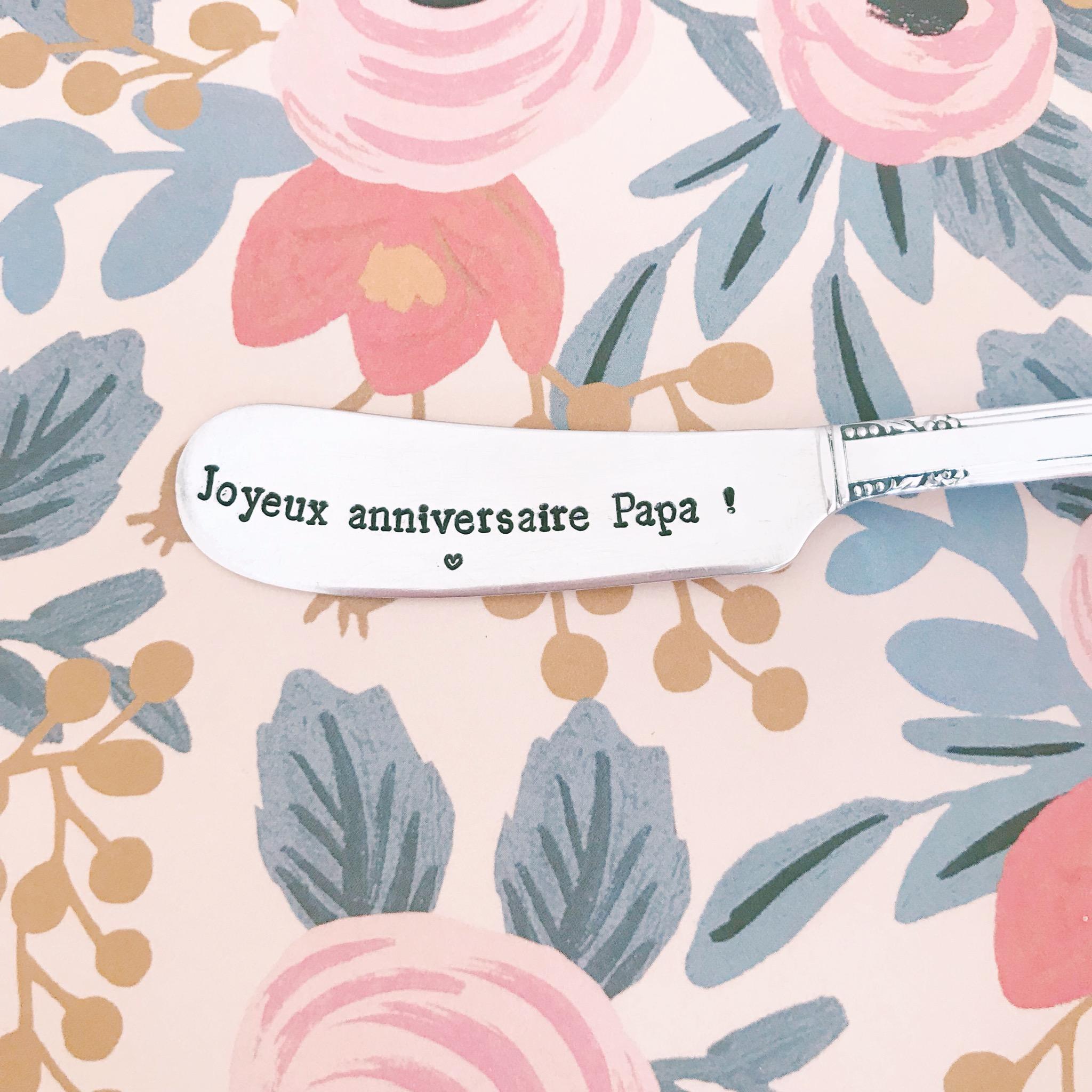 Couteau à Beurre Gravé Vintage Joyeux Anniversaire Papa